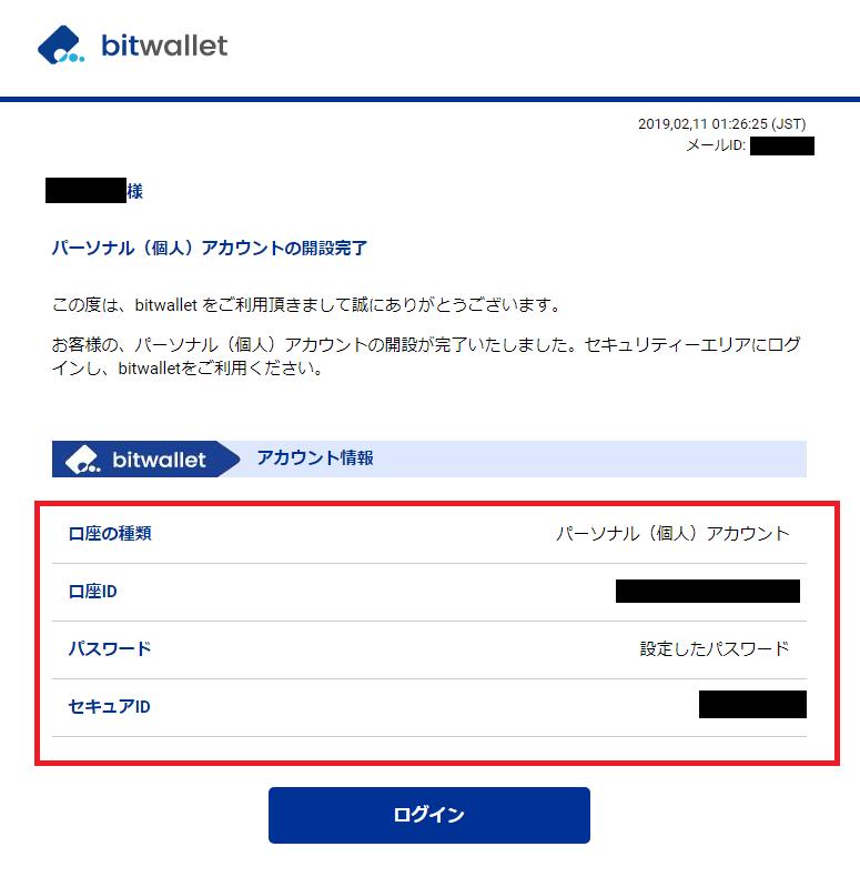 bitwalletのアカウント開設後に届く口座IDとセキュアIDが記載されたメール