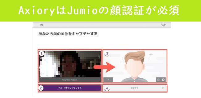 Axioryを利用するならJumioの顔認証が必要