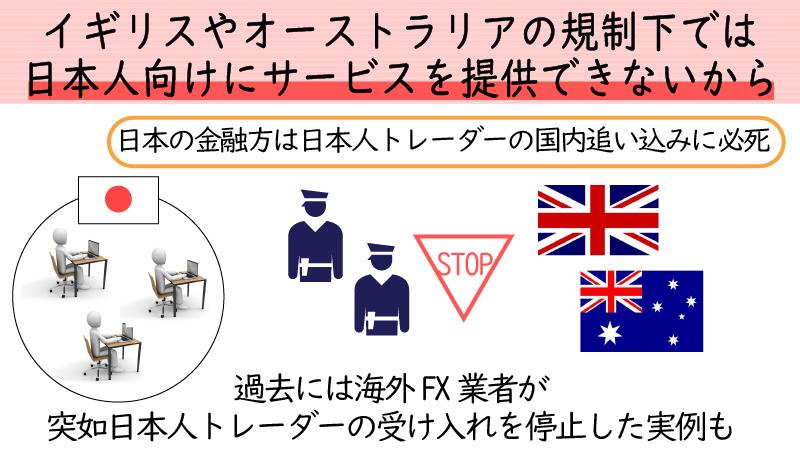 イギリスやオーストラリアの規制下では日本人向けにサービスを提供できない